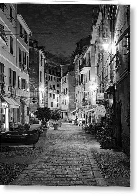 Black Greeting Cards - Vernazza Italy Greeting Card by Carl Amoth