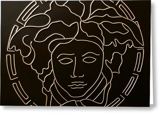 Medusa Mixed Media Greeting Cards - Versace Medusa Head Greeting Card by Peter Virgancz