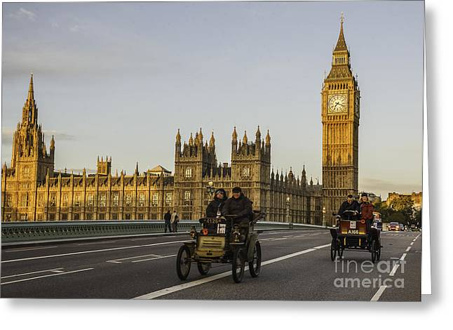 London Pastels Greeting Cards - Veteran Cars on Westminster Bridge in London Greeting Card by Philip Pound