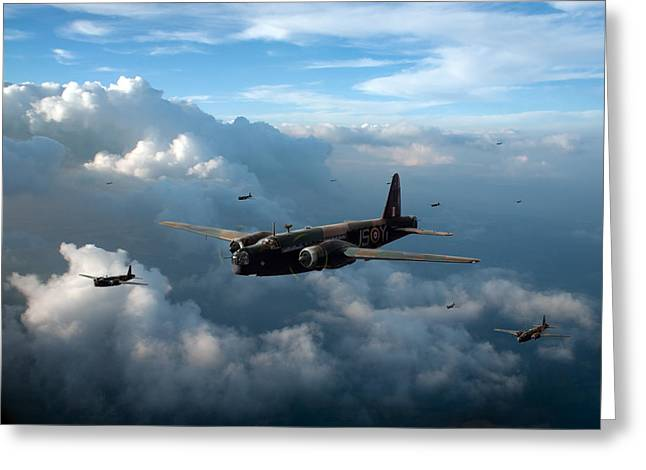 Wellingtons Greeting Cards - Vickers Wellingtons with 16 OTU Greeting Card by Gary Eason
