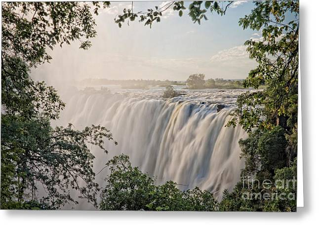 Zambia Waterfall Greeting Cards - Victoria falls Greeting Card by Delphimages Photo Creations