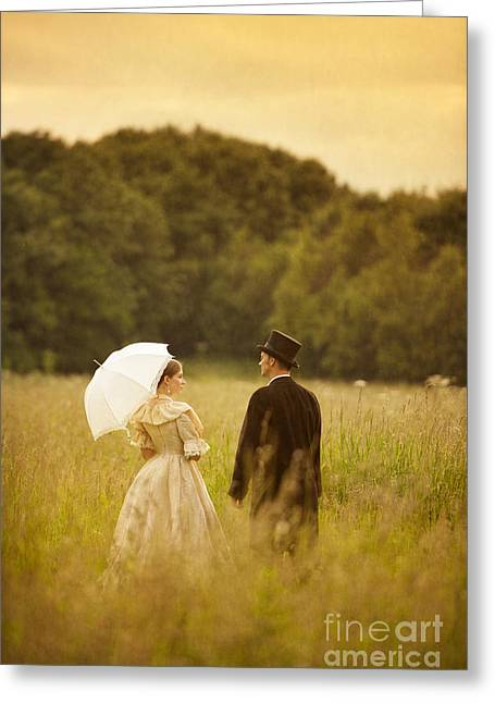 Husband Waiting Greeting Cards - Victorian Couple In A Summer Meadow Greeting Card by Lee Avison
