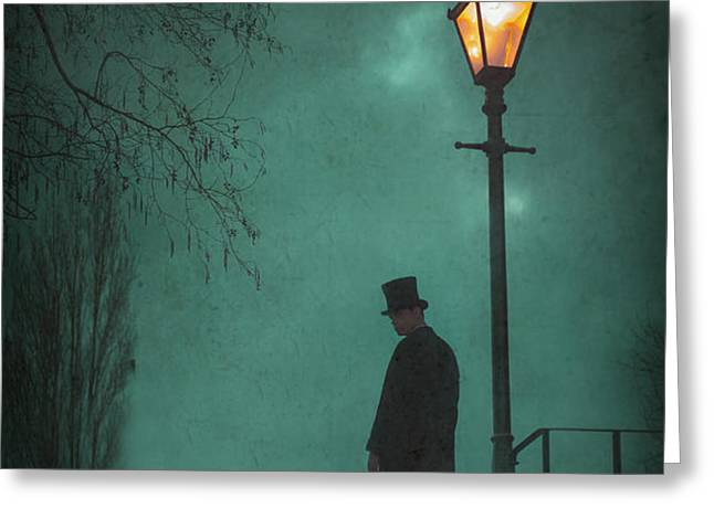 victorian man standing next to an illuminated gas lamp Greeting Card by Lee Avison