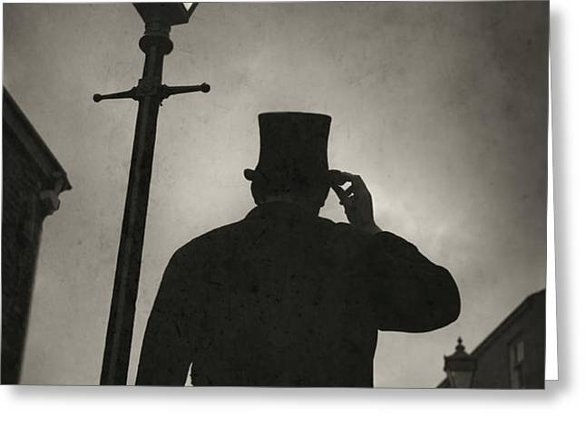 victorian man with top hat under a gas lamp Greeting Card by Lee Avison