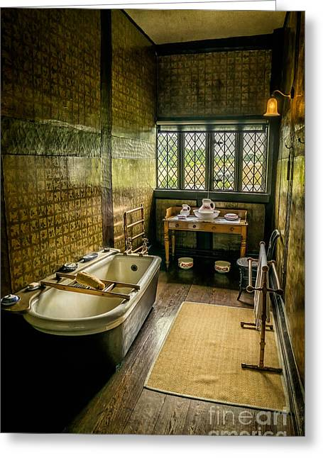 Enamel Greeting Cards - Victorian Wash Room Greeting Card by Adrian Evans