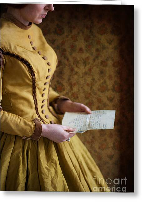 Satin Skirt Greeting Cards - Victorian Woman Reading A Love Letter Greeting Card by Lee Avison