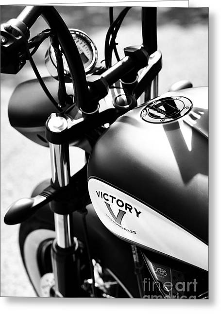 Handle Bar Greeting Cards - Victory Motorbike Greeting Card by Tim Gainey
