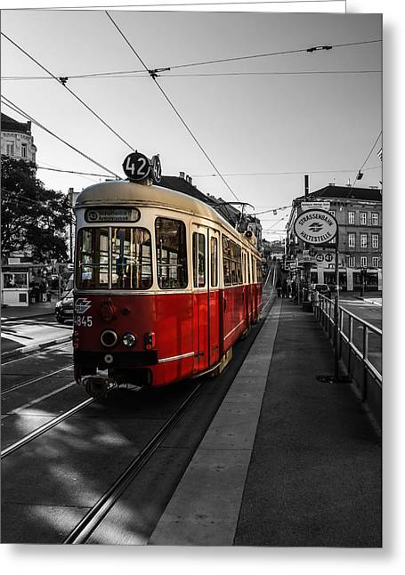 Colourkey Greeting Cards - Vienna - Tramway Colourkey Greeting Card by Jean Claude Castor