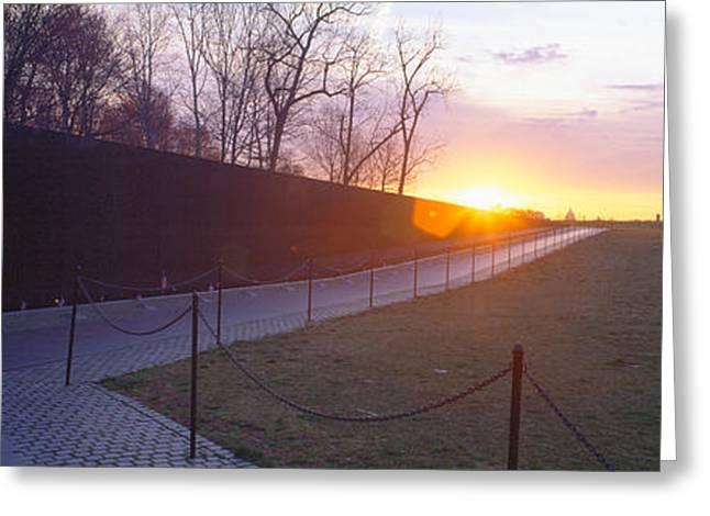 Vietnamese Greeting Cards - Vietnam Veterans Memorial At Sunrise Greeting Card by Panoramic Images