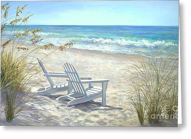 Beach Chair Greeting Cards - View For Two Greeting Card by Laurie Hein