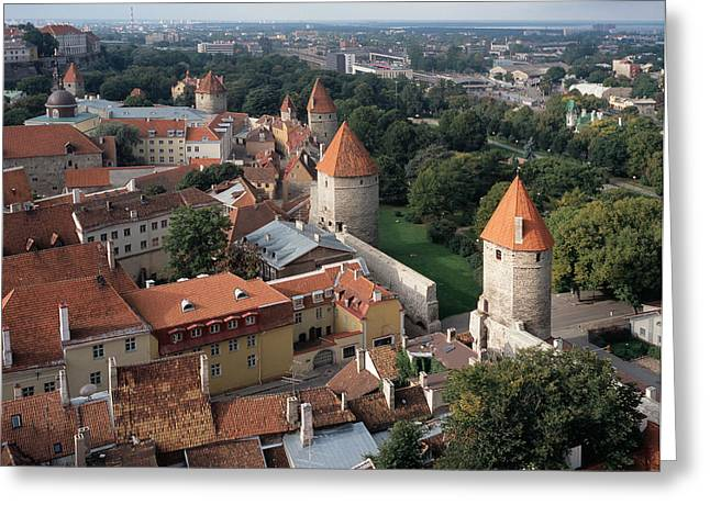 Tallinn Greeting Cards - View from above of Old Town Tallinn Estonia Greeting Card by Cliff Wassmann
