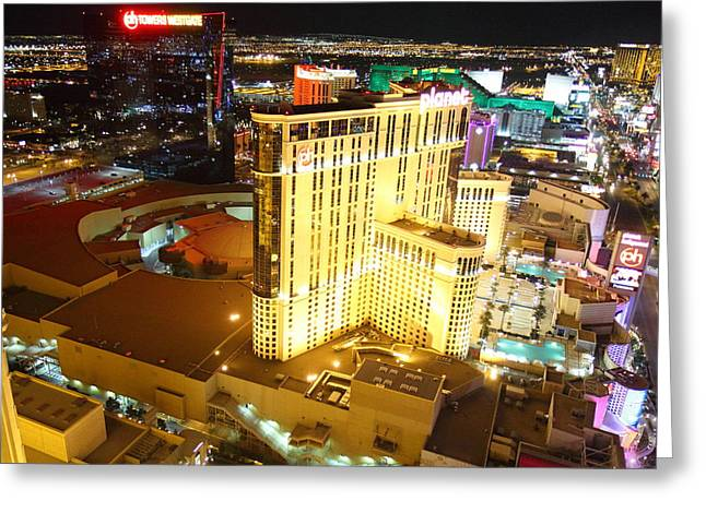 Hollywood Photographs Greeting Cards - View from Eiffel Tower in Las Vegas - 01132 Greeting Card by DC Photographer