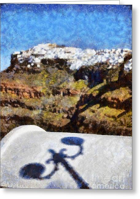 Cyclades Greeting Cards - View from Firostefani in Santorini island Greeting Card by George Atsametakis