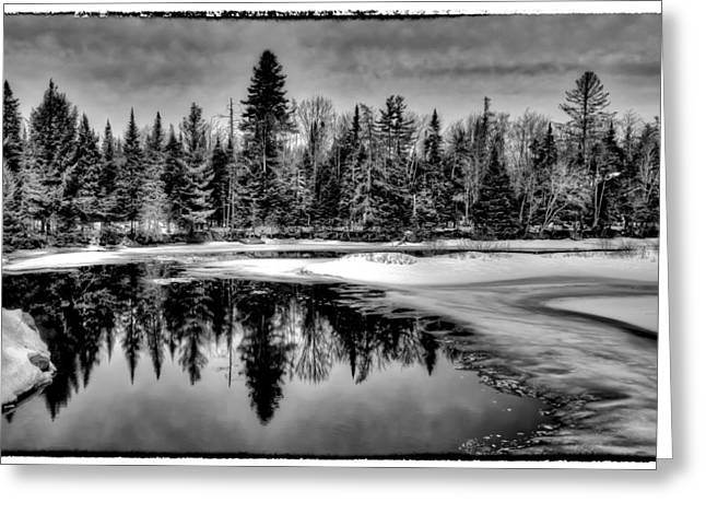 Evergreen Covered In Snow Greeting Cards - View from the Green Bridge - Old Forge New York Greeting Card by David Patterson