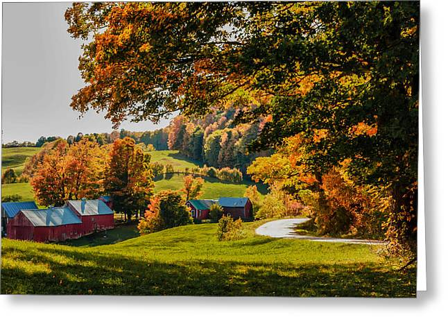 Barn Greeting Cards - View from the hill Greeting Card by Jeff Folger