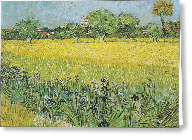 Beauty Greeting Cards - View of Arles with Irises Greeting Card by Celestial Images