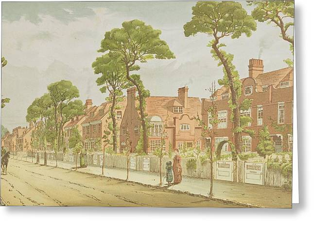 Garden Drawings Greeting Cards - View Of Bedford Park, 1882 Greeting Card by English School