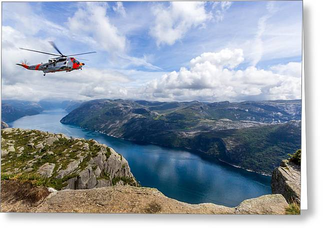 View Of Lysefjord From Preikestolen Greeting Card by Aldona Pivoriene