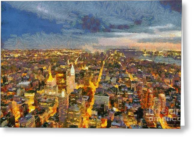 Sundown Framed Prints Greeting Cards - View of Manhattan from Empire State Building Greeting Card by George Atsametakis