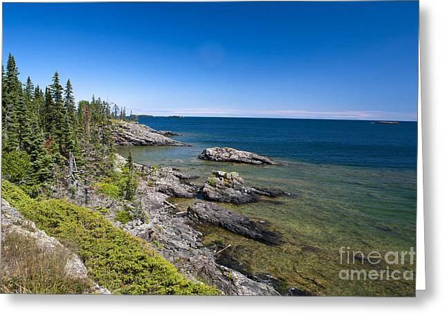 Watson Lake Greeting Cards - View of Rock Harbor and Lake Superior Isle Royale National Park Greeting Card by Jason O Watson