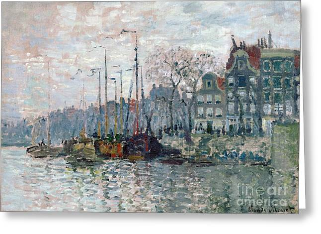 View Of The Prins Hendrikkade And The Kromme Waal In Amsterdam Greeting Card by Claude Monet