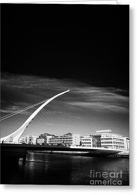 View Of The Samuel Beckett Bridge Over The River Liffey Dublin Republic Of Ireland Greeting Card by Joe Fox