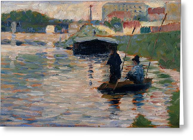 Seurat Greeting Cards - View of the Seine Greeting Card by Georges Seurat