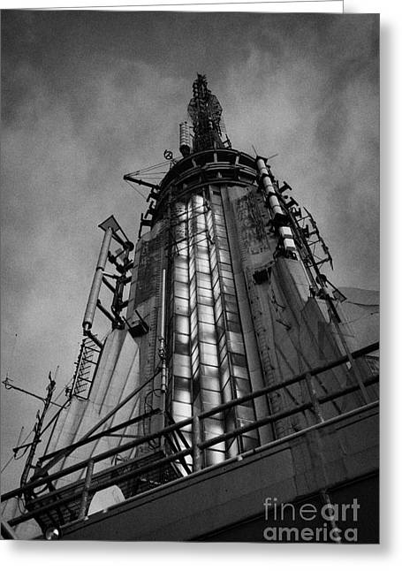 Manhaten Greeting Cards - View Of The Top Of The Empire State Building Radio Mast New York City Greeting Card by Joe Fox