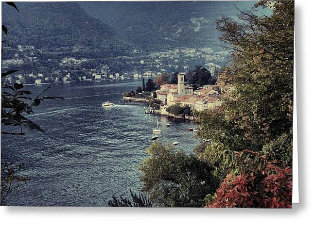 Igh Greeting Cards - View on Torno village Italy Greeting Card by Anna Bryukhanova
