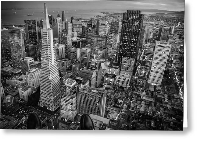 Ledge Photographs Greeting Cards - Viewing a San Francisco Sunset Greeting Card by Jared Erondu