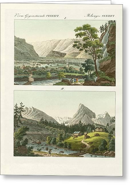 Switzerland Drawings Greeting Cards - Views of Switzerland Greeting Card by Splendid Art Prints