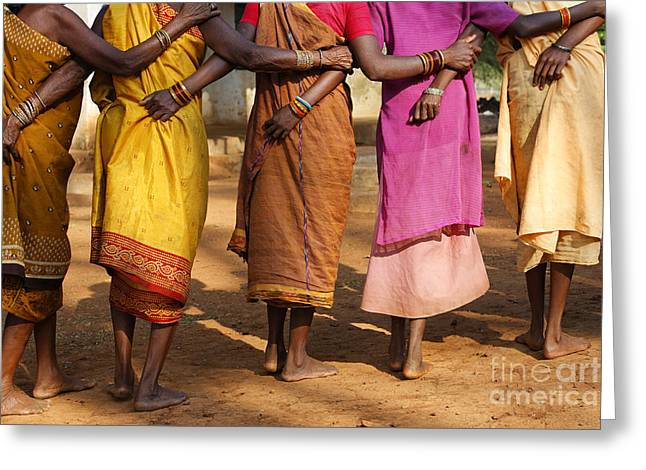 Traditional Dance Greeting Cards - Village Dance in Orissa Greeting Card by Robert Preston