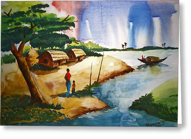 Shakhenabat Kasana Greeting Cards - Village Landscape of Bangladesh Greeting Card by Shakhenabat Kasana