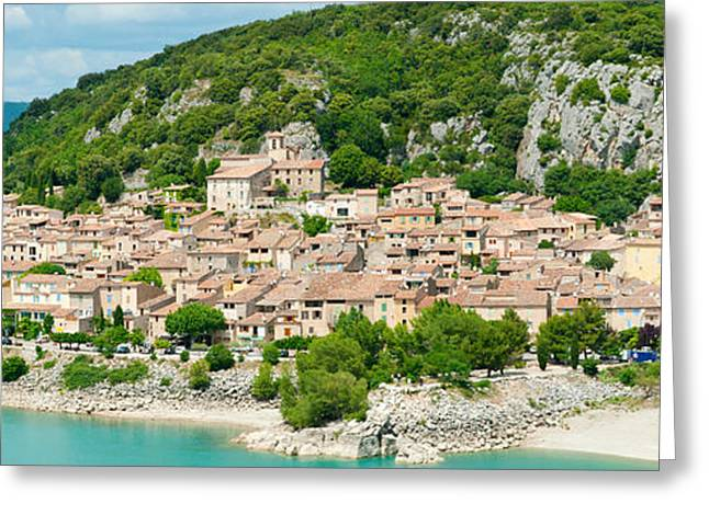 Croix Greeting Cards - Village On A Hill At The Lakeside Greeting Card by Panoramic Images