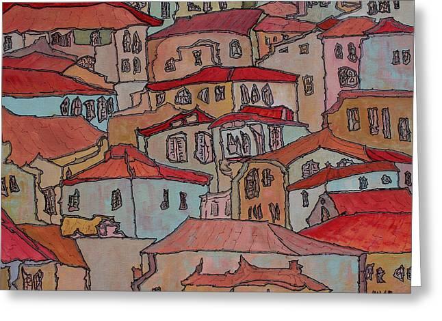 Prague Paintings Greeting Cards - Village Greeting Card by Oscar Penalber