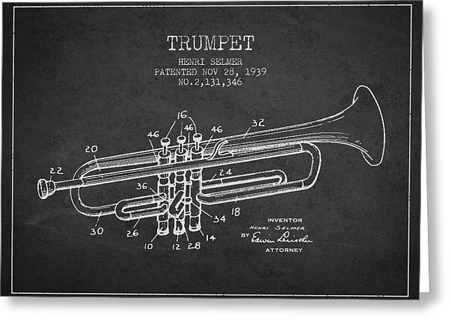 Vinatge Trumpet Patent From 1939 Greeting Card by Aged Pixel