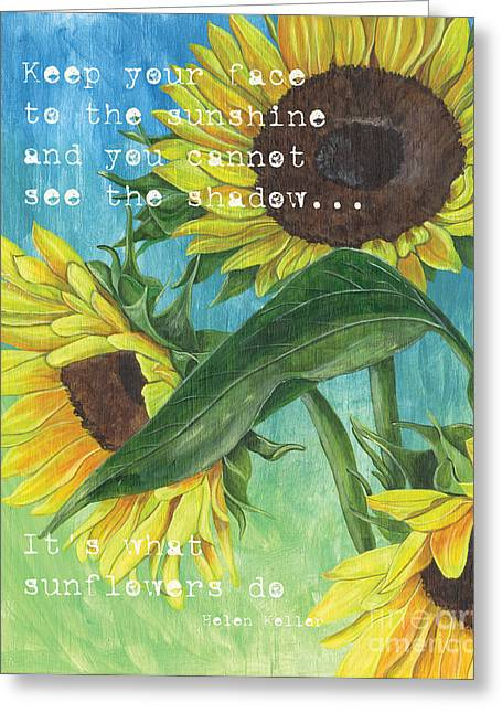 Flower Greeting Cards - Vinces Sunflowers 1 Greeting Card by Debbie DeWitt