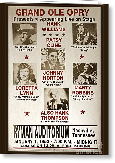 Best Sellers -  - Nashville Tennessee Greeting Cards - Vintage 1953 Grand Ole Opry Poster Greeting Card by John Stephens