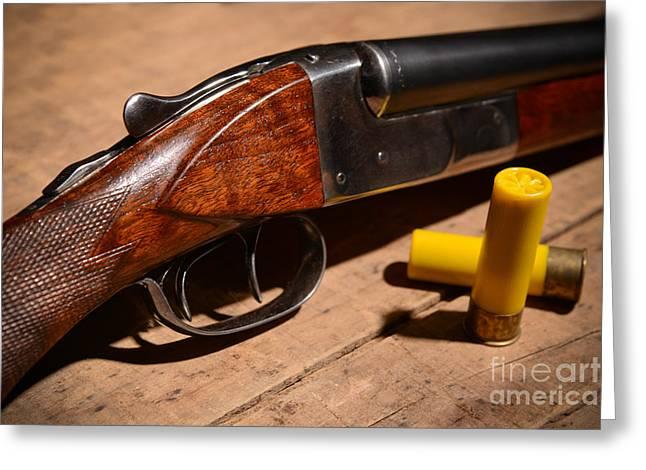 Bird Shot Greeting Cards - Vintage 20 Gauge Double Barrel Shotgun Greeting Card by Jt PhotoDesign
