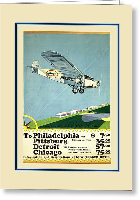 Vintage Airline Greeting Cards - Vintage Airline Ad 1929 Greeting Card by Andrew Fare