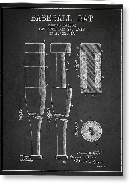 Baseball Bat Greeting Cards - Vintage Baseball Bat Patent from 1919 Greeting Card by Aged Pixel
