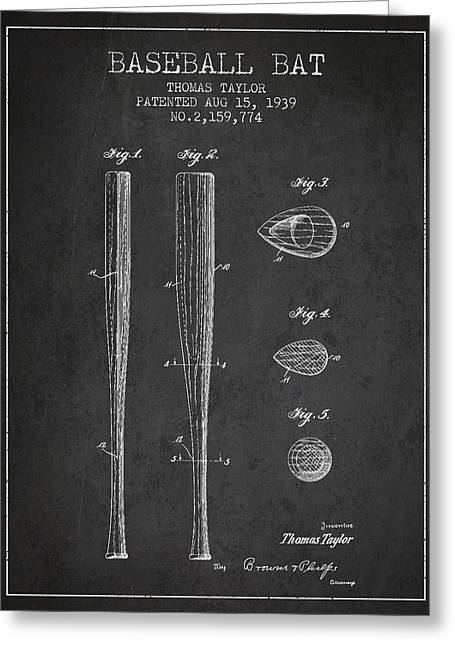 Baseball Bat Greeting Cards - Vintage Baseball Bat Patent from 1939 Greeting Card by Aged Pixel