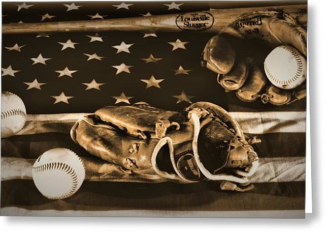 Baseball Gloves Photographs Greeting Cards - Vintage Baseball Greeting Card by Dan Sproul