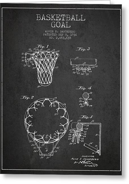 Dunk Greeting Cards - Vintage Basketball Goal patent from 1936 Greeting Card by Aged Pixel