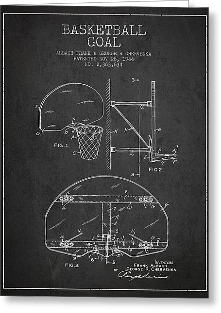 Hoop Greeting Cards - Vintage Basketball Goal patent from 1944 Greeting Card by Aged Pixel