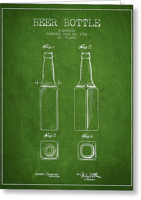 Glass Wall Greeting Cards - Vintage Beer Bottle Patent Drawing from 1934 - Green Greeting Card by Aged Pixel