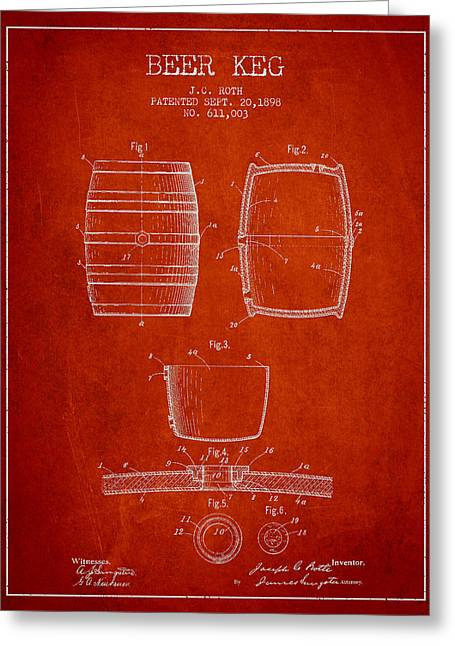 Barrel Greeting Cards - Vintage Beer Keg Patent Drawing from 1898 - Red Greeting Card by Aged Pixel