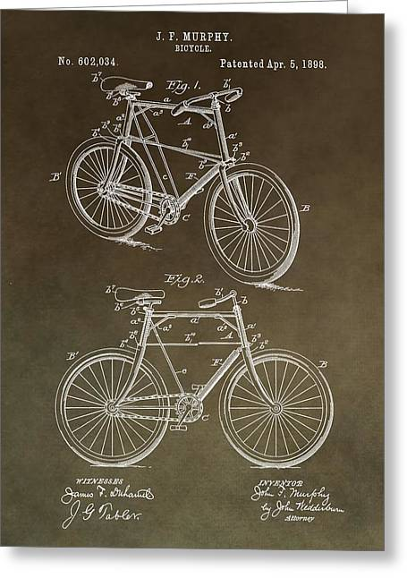 Vintage Bicycle Mixed Media Greeting Cards - Vintage Bicycle Patent Brown Greeting Card by Dan Sproul