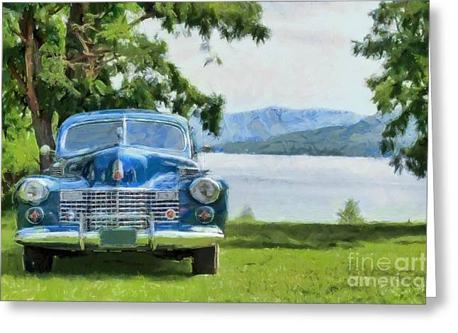 Caddy Photographs Greeting Cards - Vintage Blue Caddy at Lake George New York Greeting Card by Edward Fielding