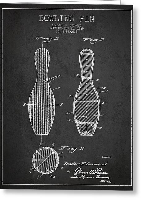 Bowling Greeting Cards - Vintage Bowling Pin Patent Drawing from 1939 Greeting Card by Aged Pixel